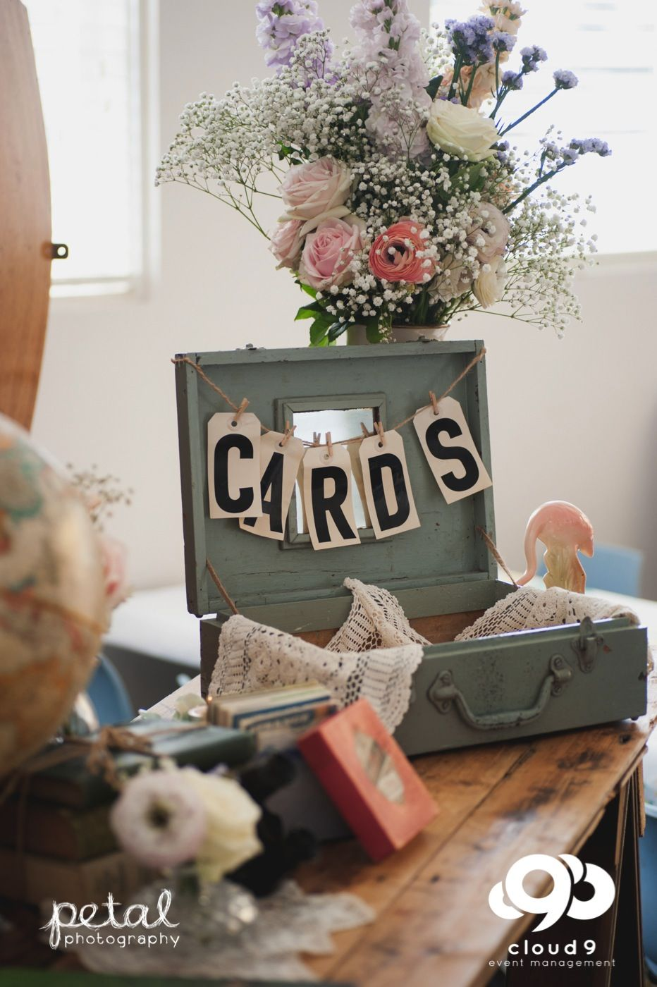 Wishing Well Vintage suitcase and cards on twine with pastel flowers for a vintage inspired wedding
