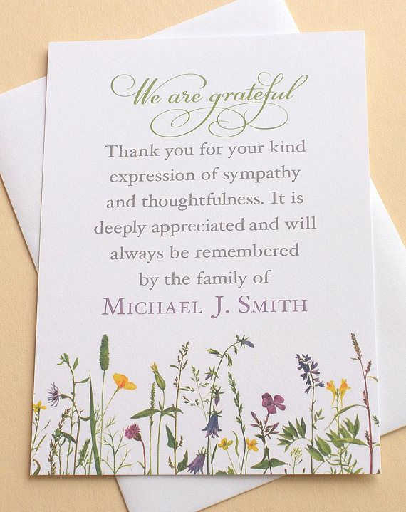 Sympathy Thank You Cards With Pretty Wild Flowers With Images