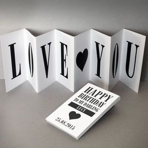 Personalised birthday card love you concertina card birthday personalised birthday card love you concertina card birthday cards bookmarktalkfo Gallery