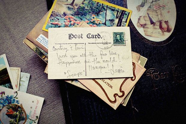 Vintage Postcards For Guests To Write A Message On The Back Instead