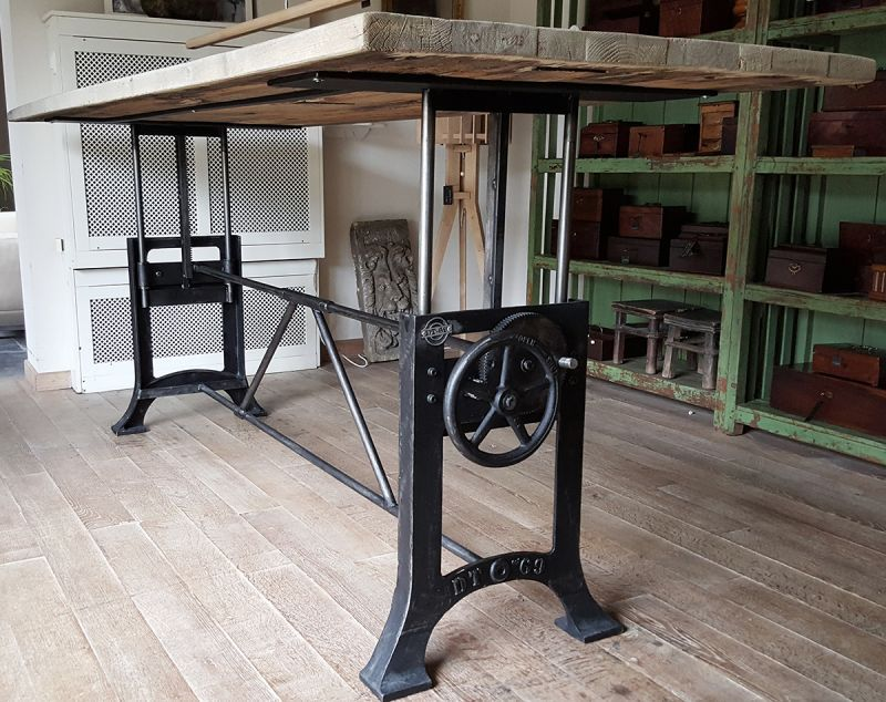 This Industrial Adjustable Crank Table Has An In Height Adjustable Crank  Base With Cast Iron Legs