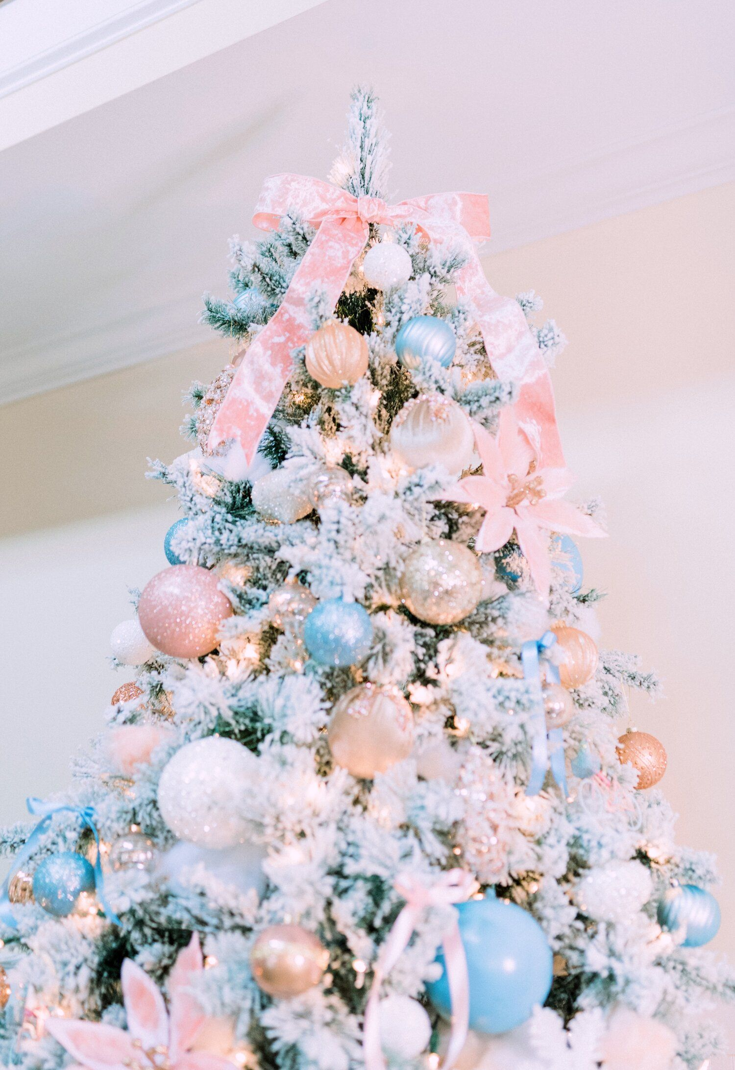 Southern Belle Pink Bow Christmas Tree Topper French Blue And Blush Pink Flocked Pink Christmas Decorations Rose Gold Christmas Decorations Rose Gold Christmas