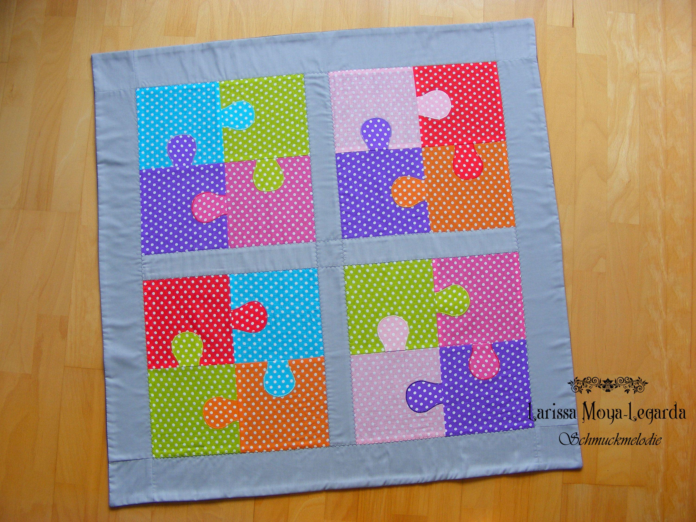 Leichte Babydecke Puzzle Bunt Kuscheldecke Fleece Krabbeldecke
