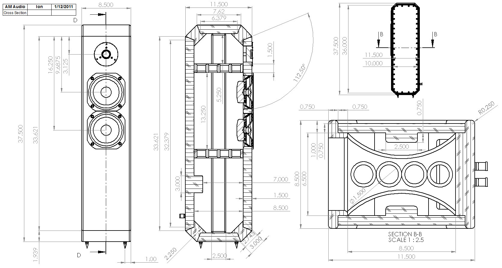 Ion 2 Way Tmm Tower Loudspeaker Enclosure Drawing