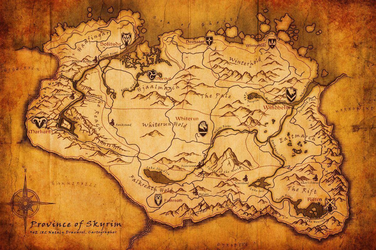 Pix For Skyrim Map Wallpaper Skyrim Map Skyrim Wallpaper