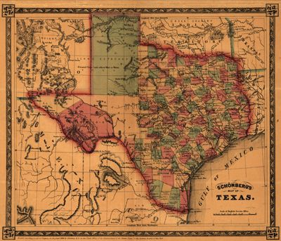 vintage map of Texas | USA State Samples from the Antique and ...