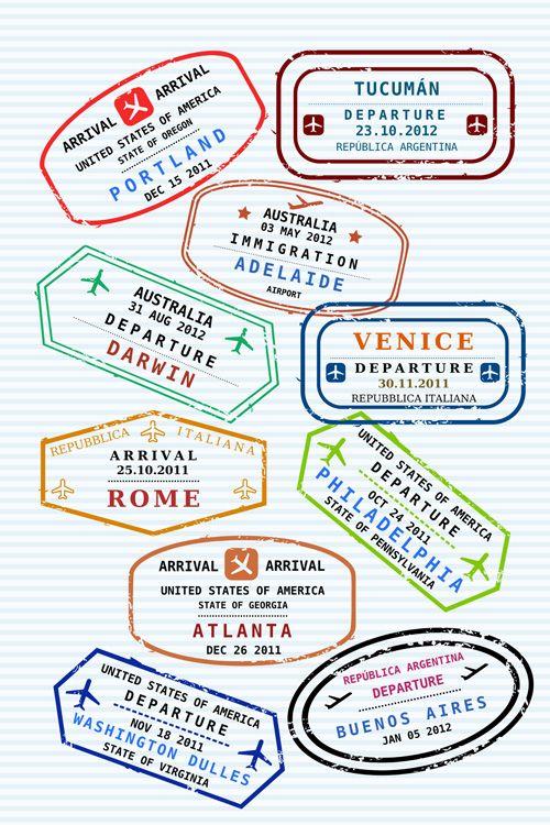Vector Passport Stamps Design Set 01