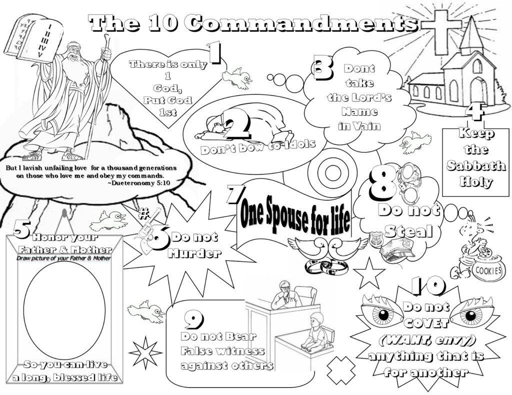 Coloring Pages Lesson Kids For Christ Bible Club Ten Commandments