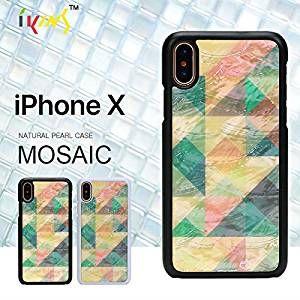 6ef70824c9 Amazon | 【カラー:ブラックフレーム】iPhoneX ikins アイキンス 天然貝 モザイク ケース 天然