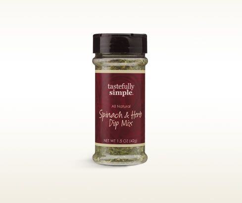 Tastefully Simple's Spinach & Herb Dip Mix makes a spectacular dip or seasoning for burgers and salads.