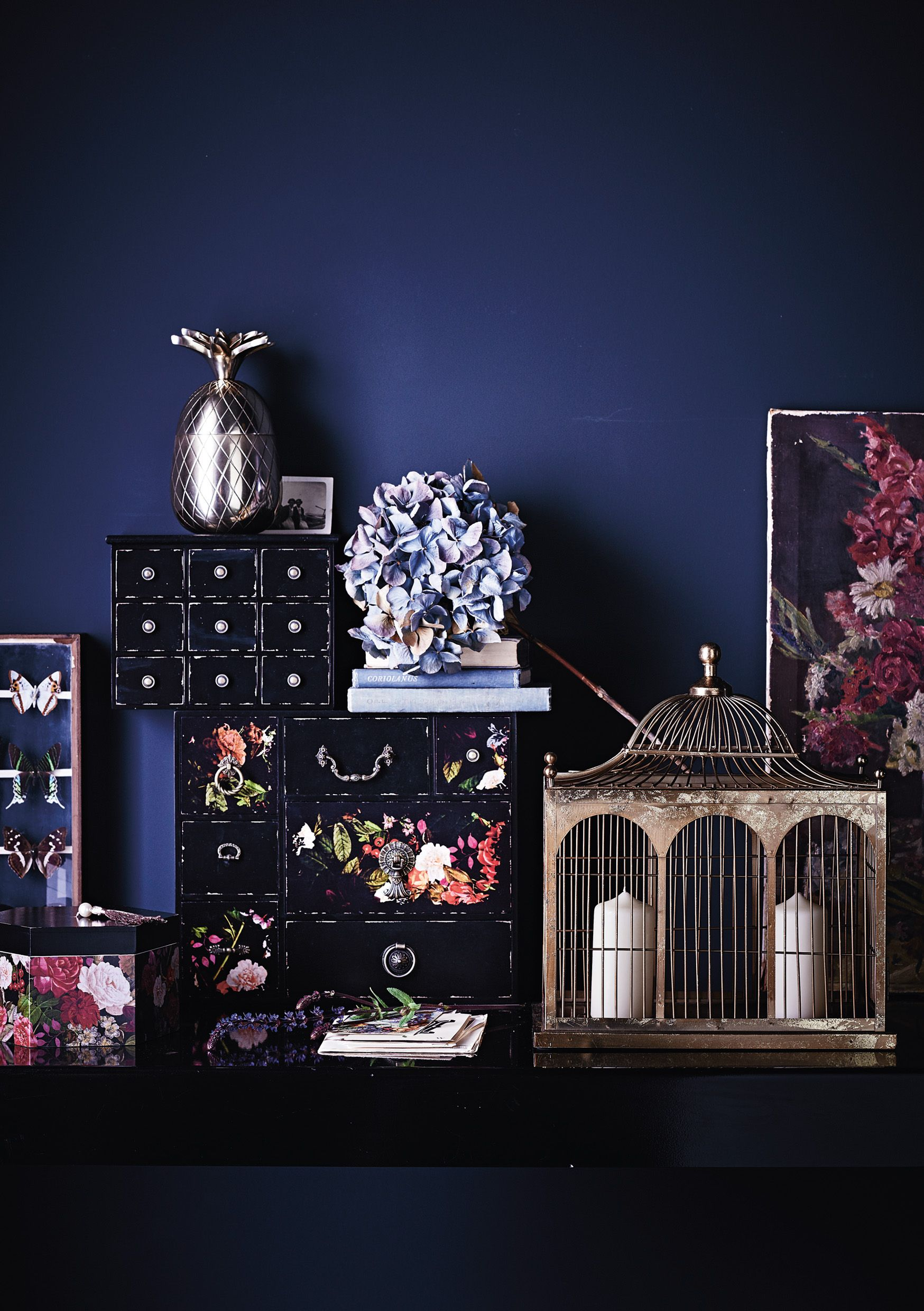 Merging classic vintage-style pieces such as ornamental birdcages with fun ornaments and motifs, this collection is for those with an individual style.
