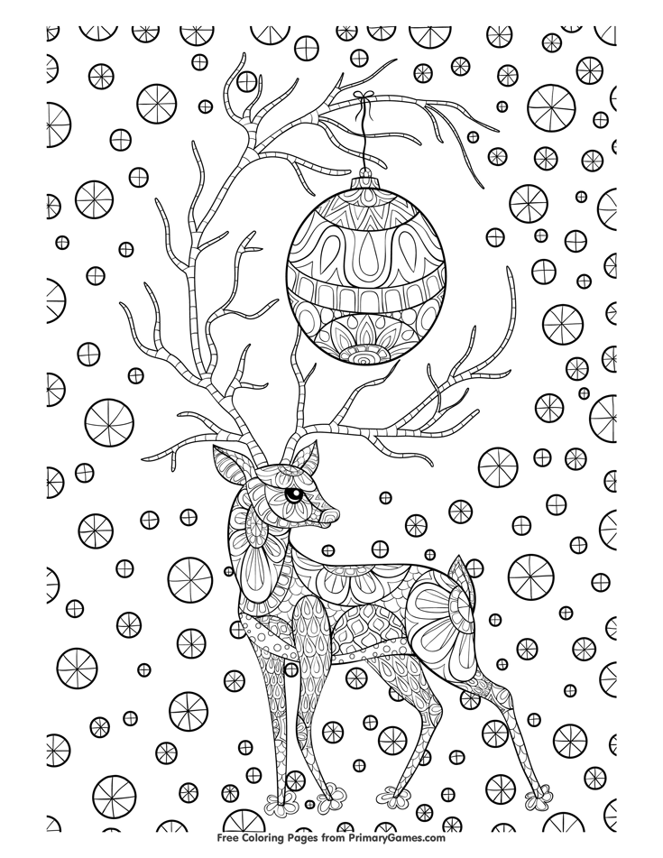 Christmas Coloring Pages Ebook Zentangle Christmas Reindeer