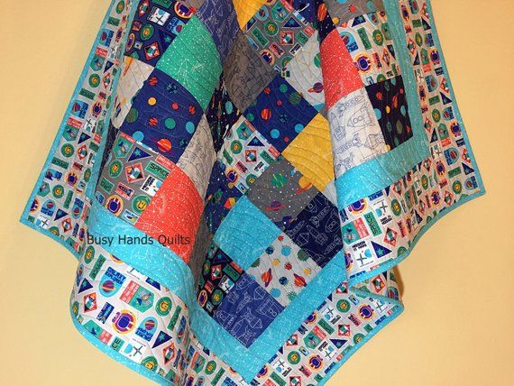 Handmade Modern Space Themed Baby Quilt for Boys With Free Shipping-Baby Shower Gift-Quilts for Sale and Ready to Ship-Crib Blanket- Myra Barnes of Busy ...