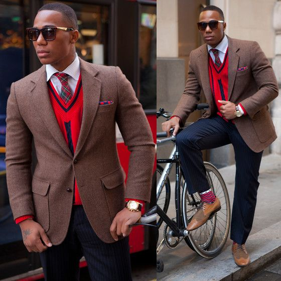 Brown blazer, red sweater, plaid tie, and blue pants. | Many men ...