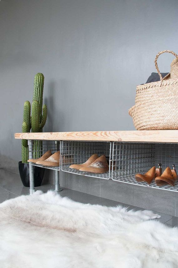 Photo of Shoe storage, shoe storage bench, boarding bench, industrial bench, handmade, wooden bench, boarding bench, shoe organizer, shoe rack, bench