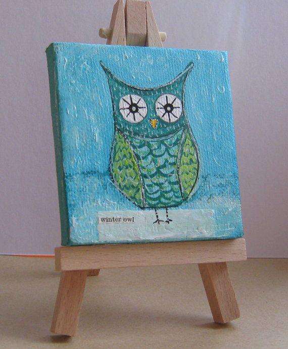 Winter Owl Original Mini Canvas Art NOW SOLD By Kimartwork GBP1100