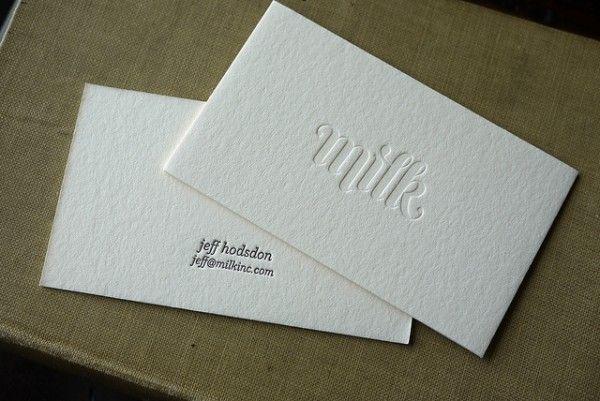 Jeff Hodson Had His Minimalistic Milk Business Cards Printed On 220lb Ecru Crane Lettra The