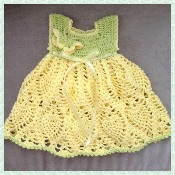 Crochet Baby Spring Dress, Crochet Butterfly Dress, Baby Pineapple ...