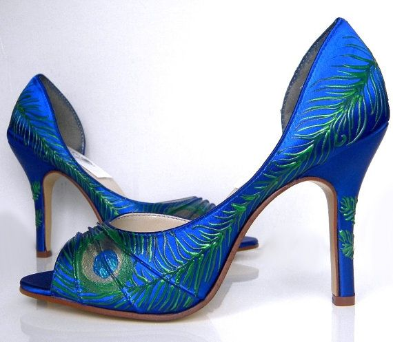 Pin On Peacock Shoes Heels Blue