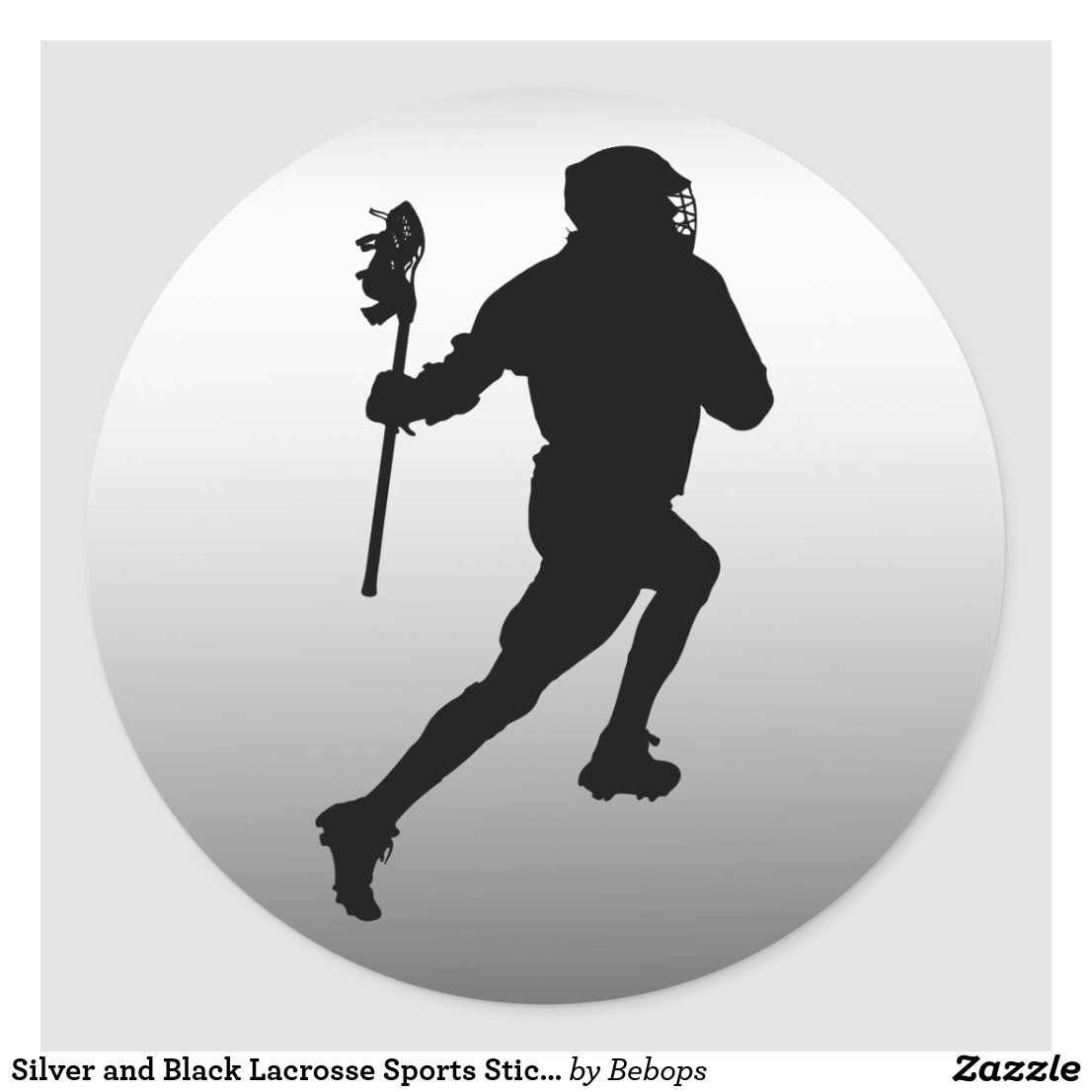 Silver And Black Lacrosse Sports Sticker Zazzle Com Lacrosse Sport Lacrosse Sports [ 1106 x 1106 Pixel ]