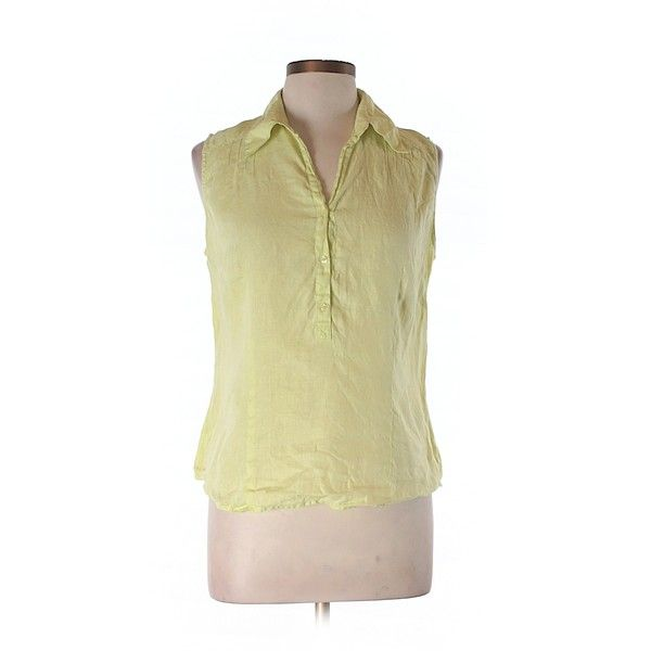 Pre-owned Ann Taylor LOFT Sleeveless Blouse ($15) ❤ liked on Polyvore featuring tops, blouses, yellow, loft tops, sleeveless tops, beige blouse, yellow blouse and yellow sleeveless top