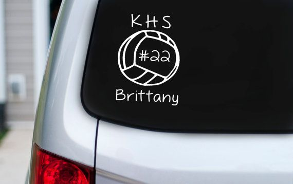 Personalized Volleyball Vinyl Car Decal Volleyball Team Club Volleyball Car Decals Vinyl Decals Vinyl Signs