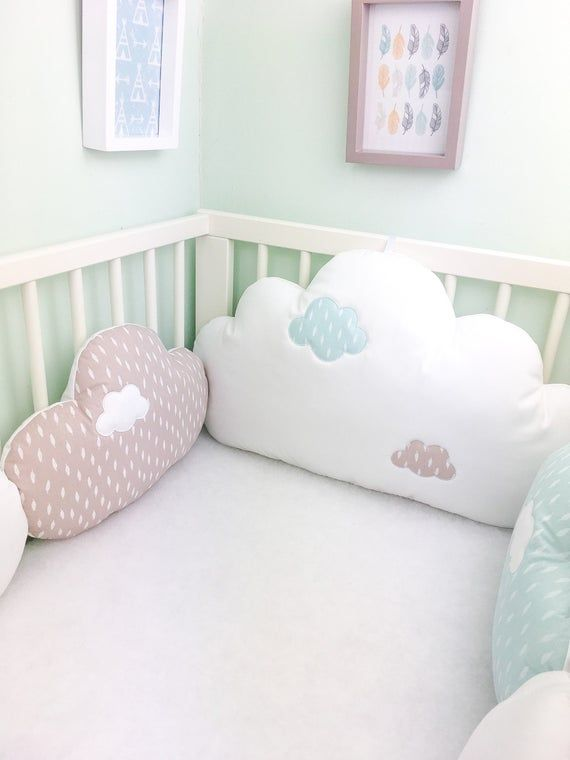 Bab cot bumpers cloud cushions in taupe celadon blue and | Etsy