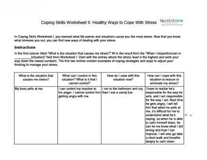 Stress Management Stress Management Coping Skills Worksheets For