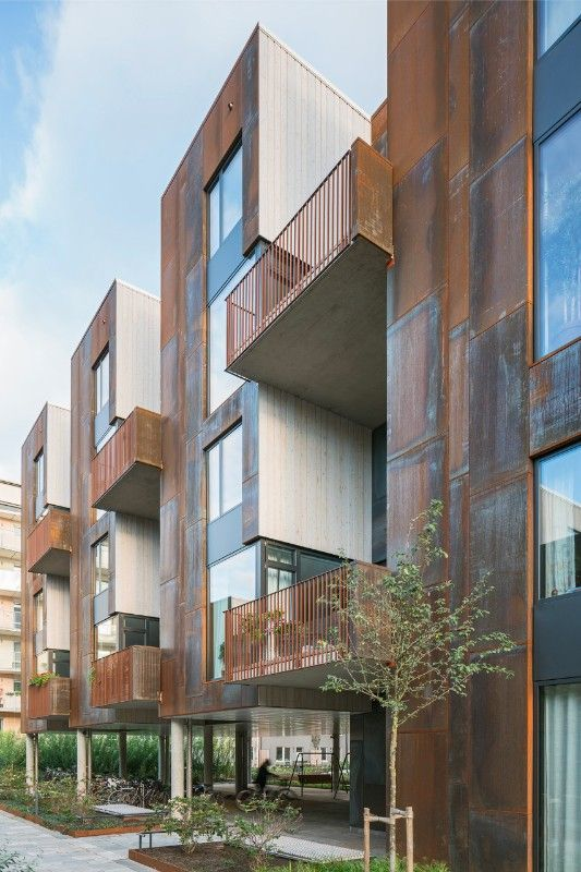 Stockholm  18 Corten townhouses by C F  Møller Architects is part of Facade architecture - Danish studio has designed a housing complex that optimises contact with the surroundings, where where the city and the countryside meet