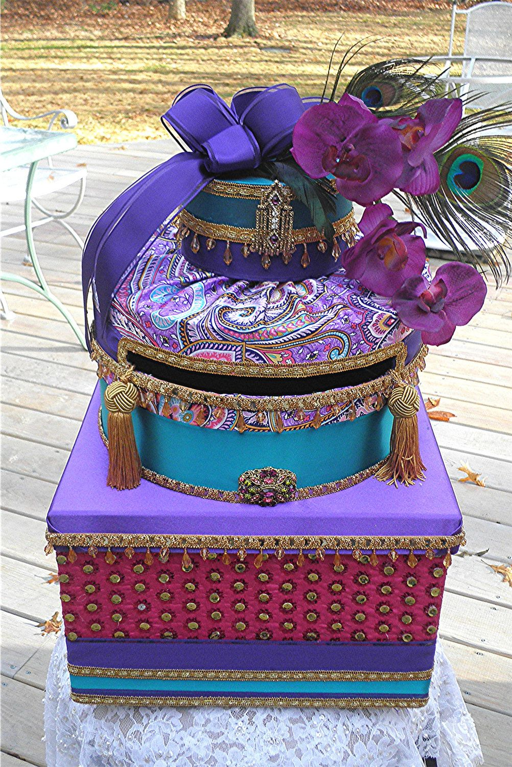 Ornate MOROCCAN  Wedding Card Box Two  ANTIQUE Vintage Brooches Peacock Feathers  Beads Tassels CUSTOMIZE