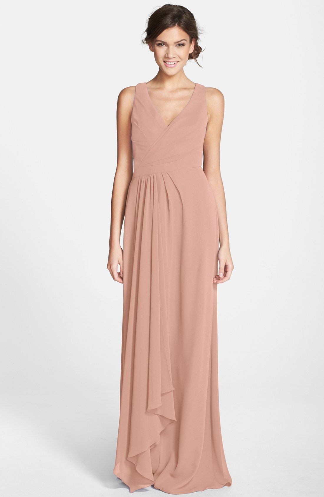 Sleeveless v neck chiffon gown nordstrom chiffon gown and lace monique lhuillier bridesmaids sleeveless v neck chiffon gown nordstrom exclusive ombrellifo Image collections