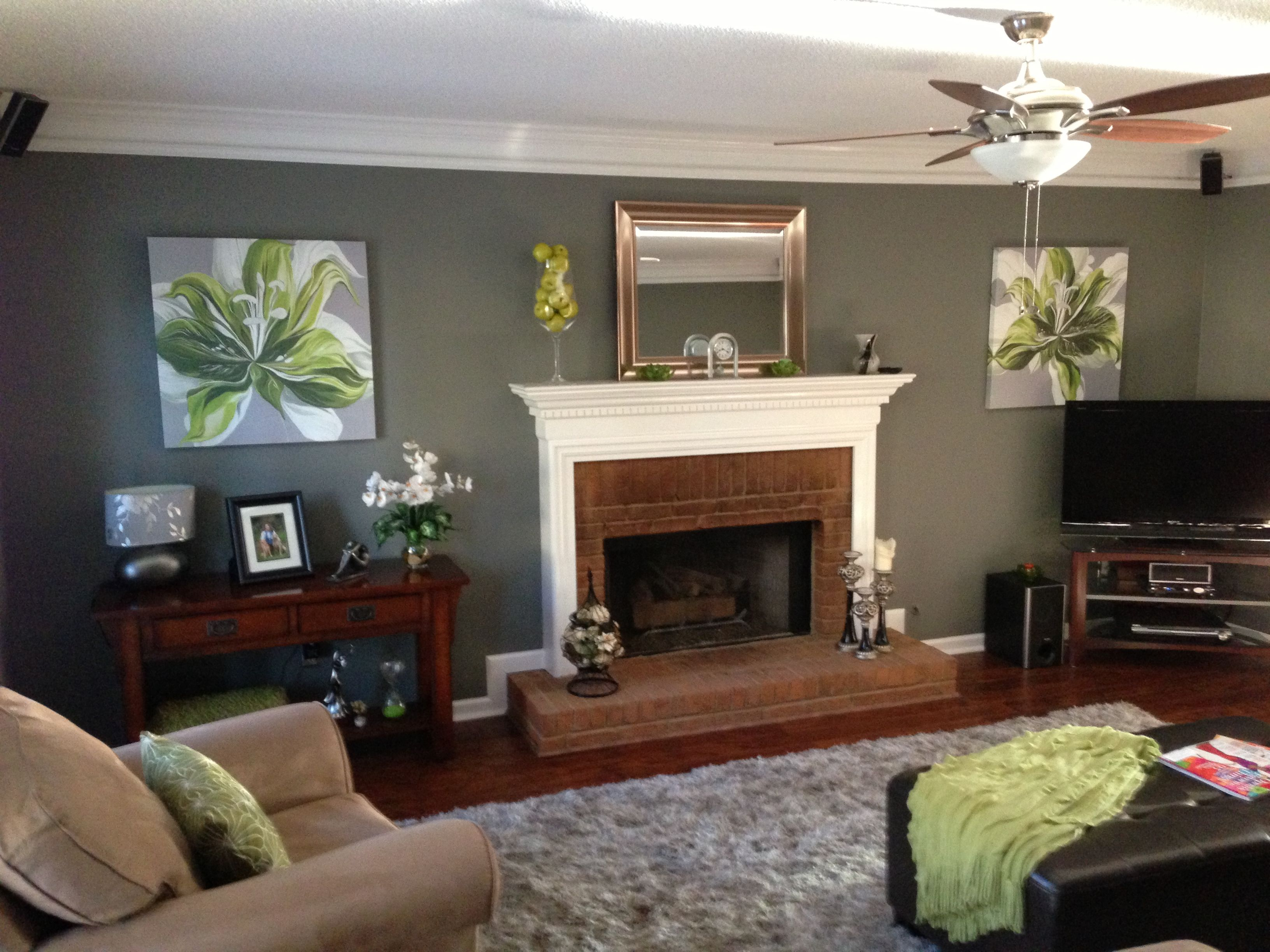 Gray and apple green family room Comfy Modern