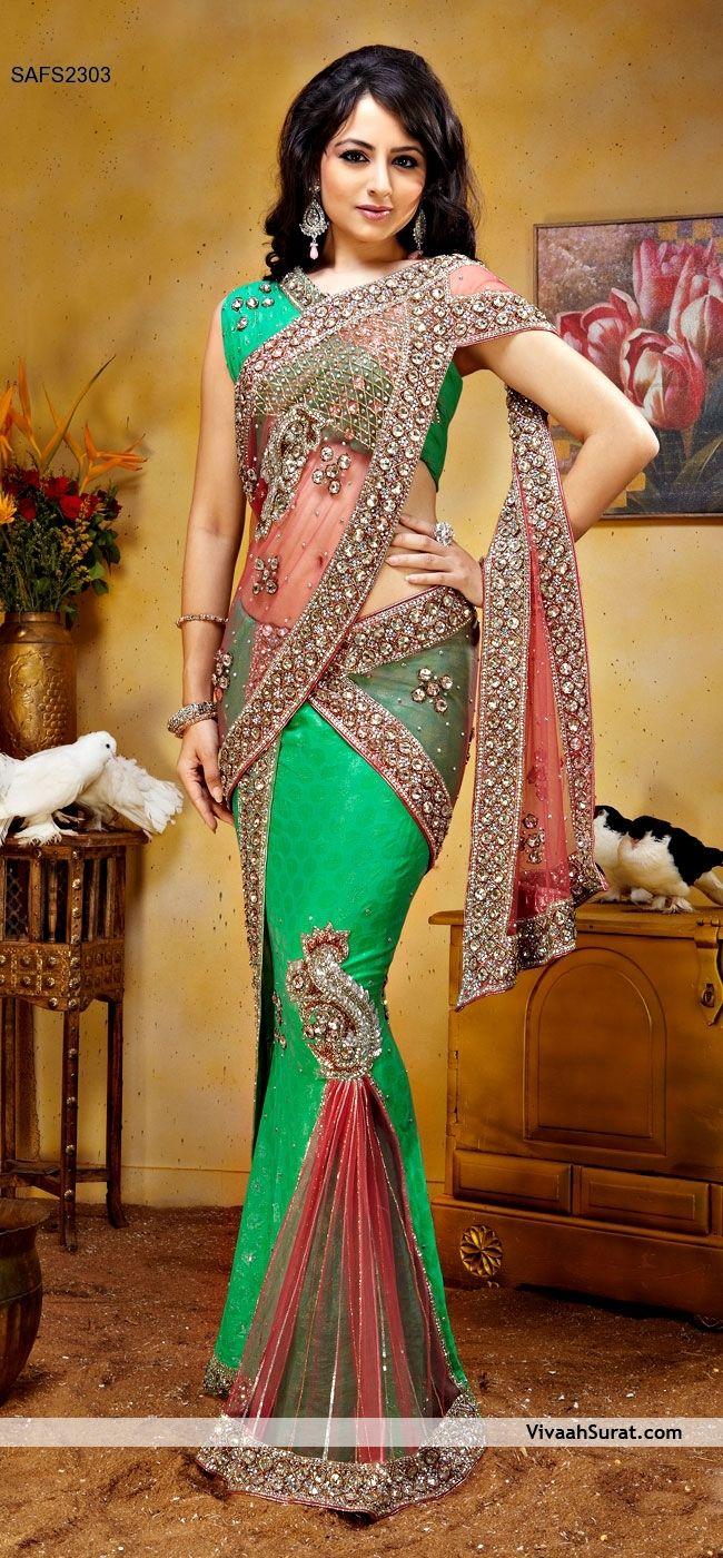 Peach Net and Sea Green Jacquard Lehenga Style Saree with Blouse