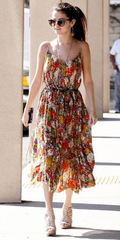 1a54d741 selena gomez floral print dress | ☆ Celebrity Street Style ...