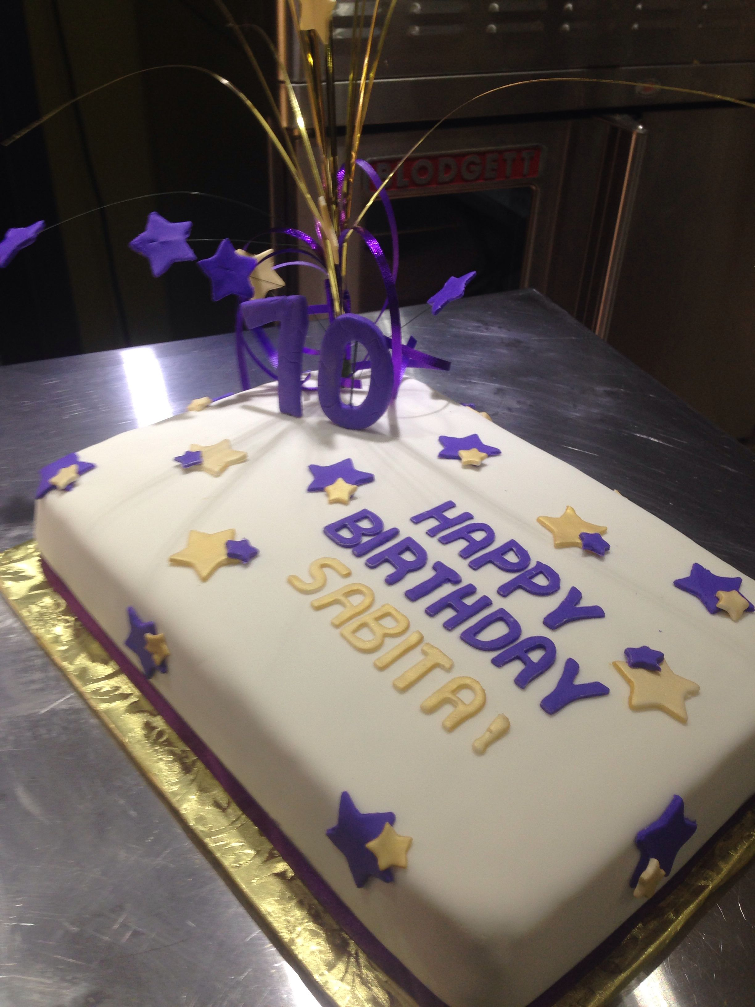 70th Birthday Cake Purple And Gold Stars Decorations