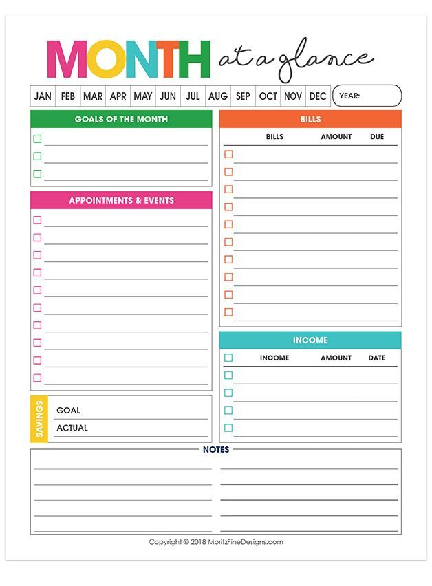 monthly overview planner