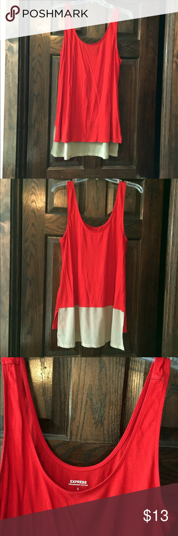 Express Dreamweight Cotton Chiffon Tank Top Lightweight red and tan color block tank from Express. Perfect light and airy tank for summer. Somewhat of a hi-lo top, as the tan chiffon material in the back is slightly longer than the front. Worn once. Great condition. Express Tops Tank Tops