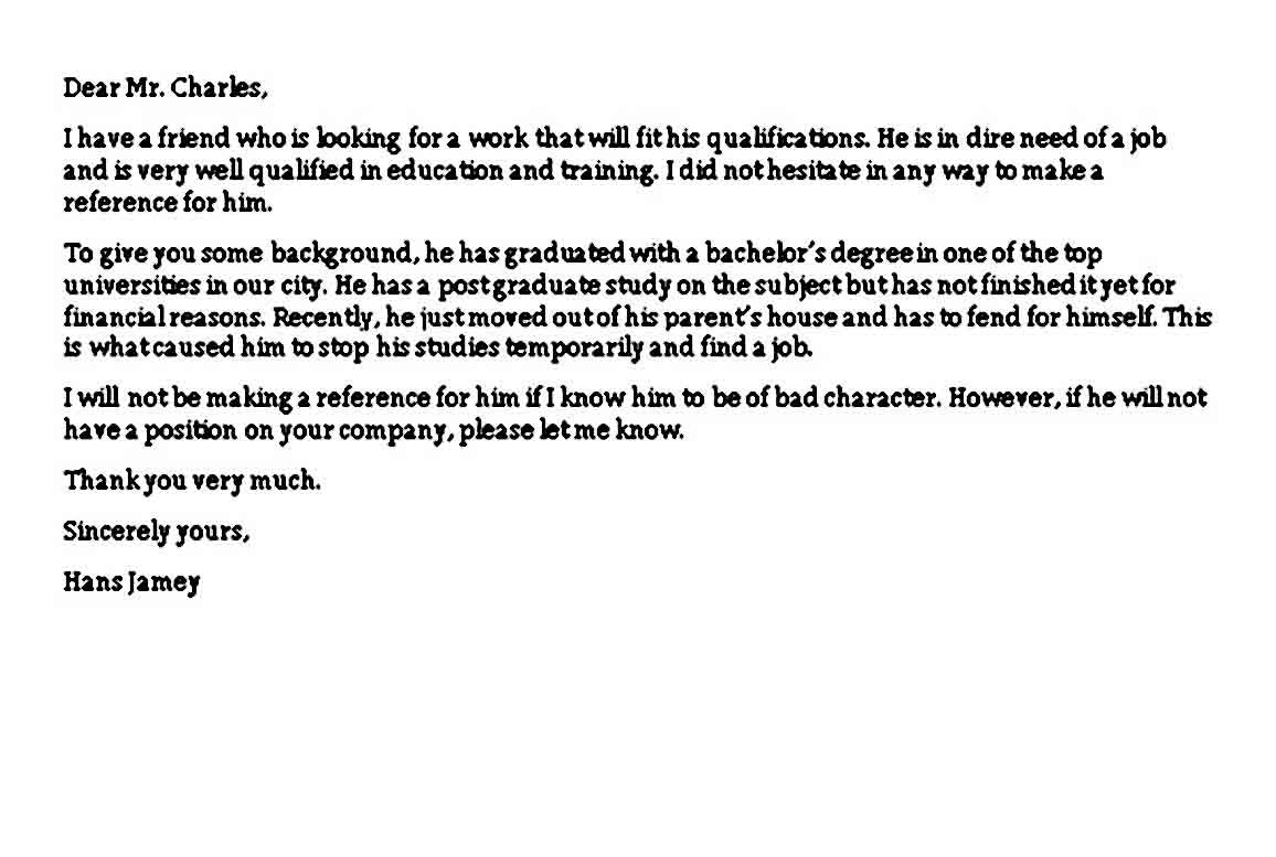 Sample Reference Letter For Friend Reference Letter Personal