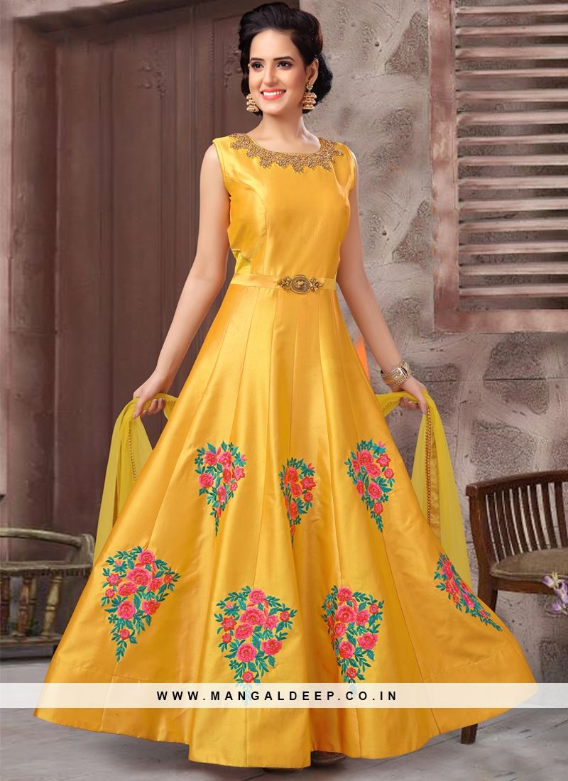 32881a5a3d #mustard #silk #embroidered #anarkalisuit Indian Suits, Punjabi Suits, Anarkali  Suits