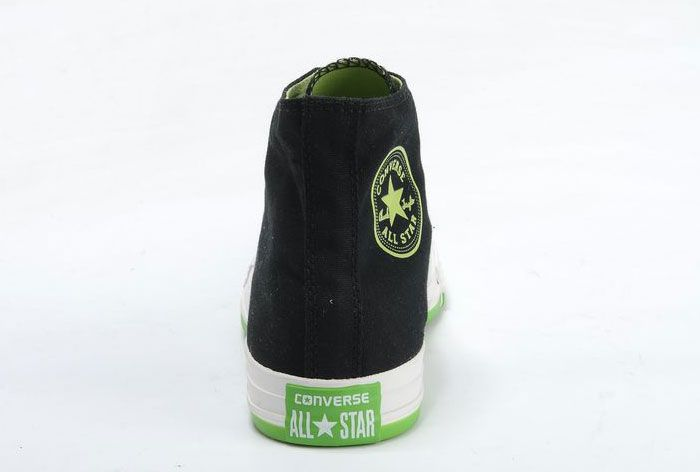 5418a8f79a95 New Black Converse High Tops Chuck Taylor All Star Canvas Sneakers Green  Sole Online Outlet  converse  shoes