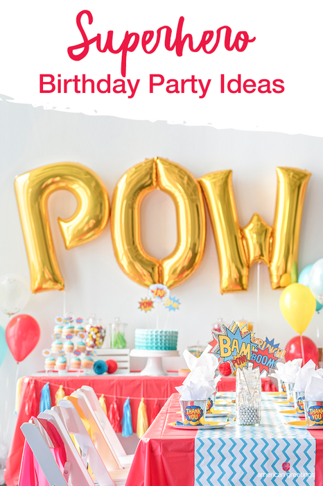 """It's a bird! It's a plane! Nope. Even better. It's a superhero themed birthday party. Check out our collection of sky's-the-limit superhero birthday party ideas and planning tips, and DIYs if you want to add some """"BAM!"""" and """"KAPOW!"""" to this birthday bash. You'll be the hero of the day."""