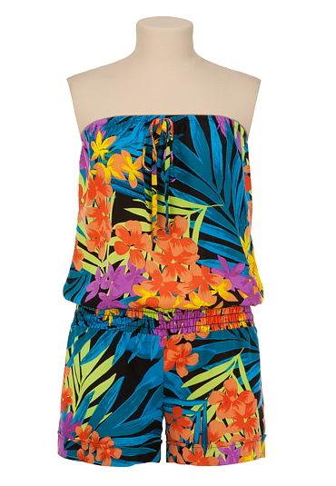 Tropical Floral Print Romper available at #Maurices  Perfect for vacation !!