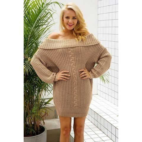 411e50ccfc0d The Amelia Sweater Dress is a one size fits all knit sweater with wide  shoulders and hips