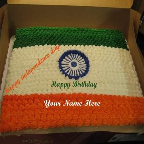Remarkable Print Name On Happy Independence Birthday Cakes Greeting Cakes Funny Birthday Cards Online Inifodamsfinfo
