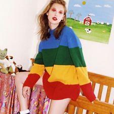 Womens Vintage Jumper Crew Neck Long Sleeve Pullover Stripe Knit Sweater Rainbow
