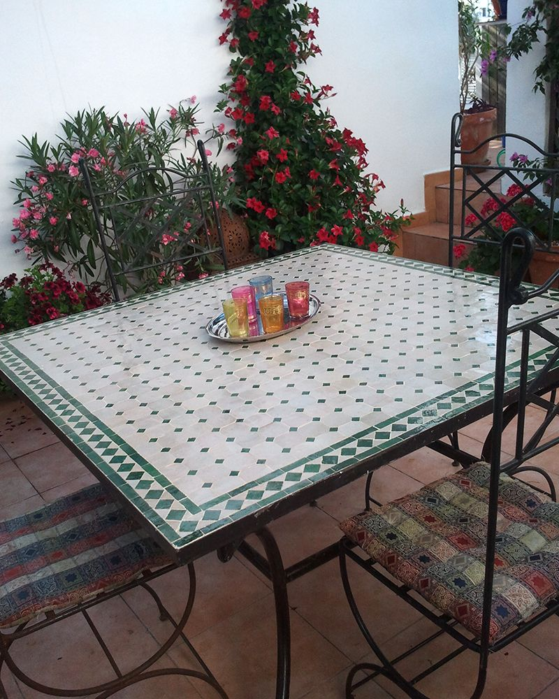 Moroccan Outdoor Mosaic Tile Table from