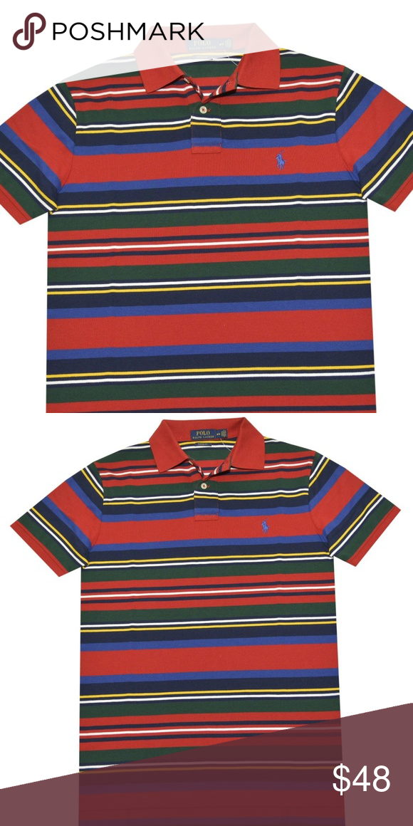 bc9b22fedc Polo Ralph Lauren Men's Stripes Mesh Polo Polo Ralph Lauren Men's Stripes  Mesh Polo NEW WITH TAGS Custom Fit Color: Madison Red (Blue, white, green,  yellow, ...