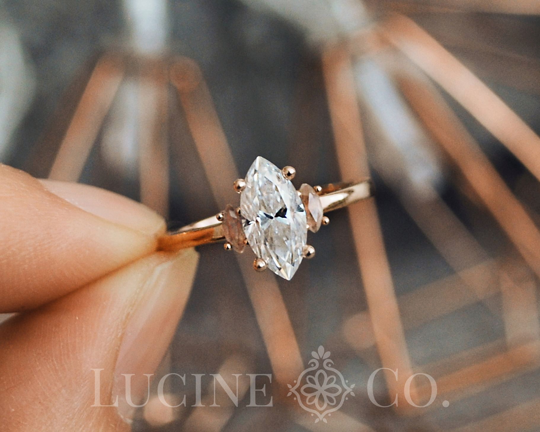 Marquise Moissanite Ring Marquise Crown Ring Peach Engagement Ring Vintage Style Ring Delicate Band Ring Dainty Rose Gold Ring Morganite Engagement Ring Vintage Vintage Style Rings Engagement Rings Marquise
