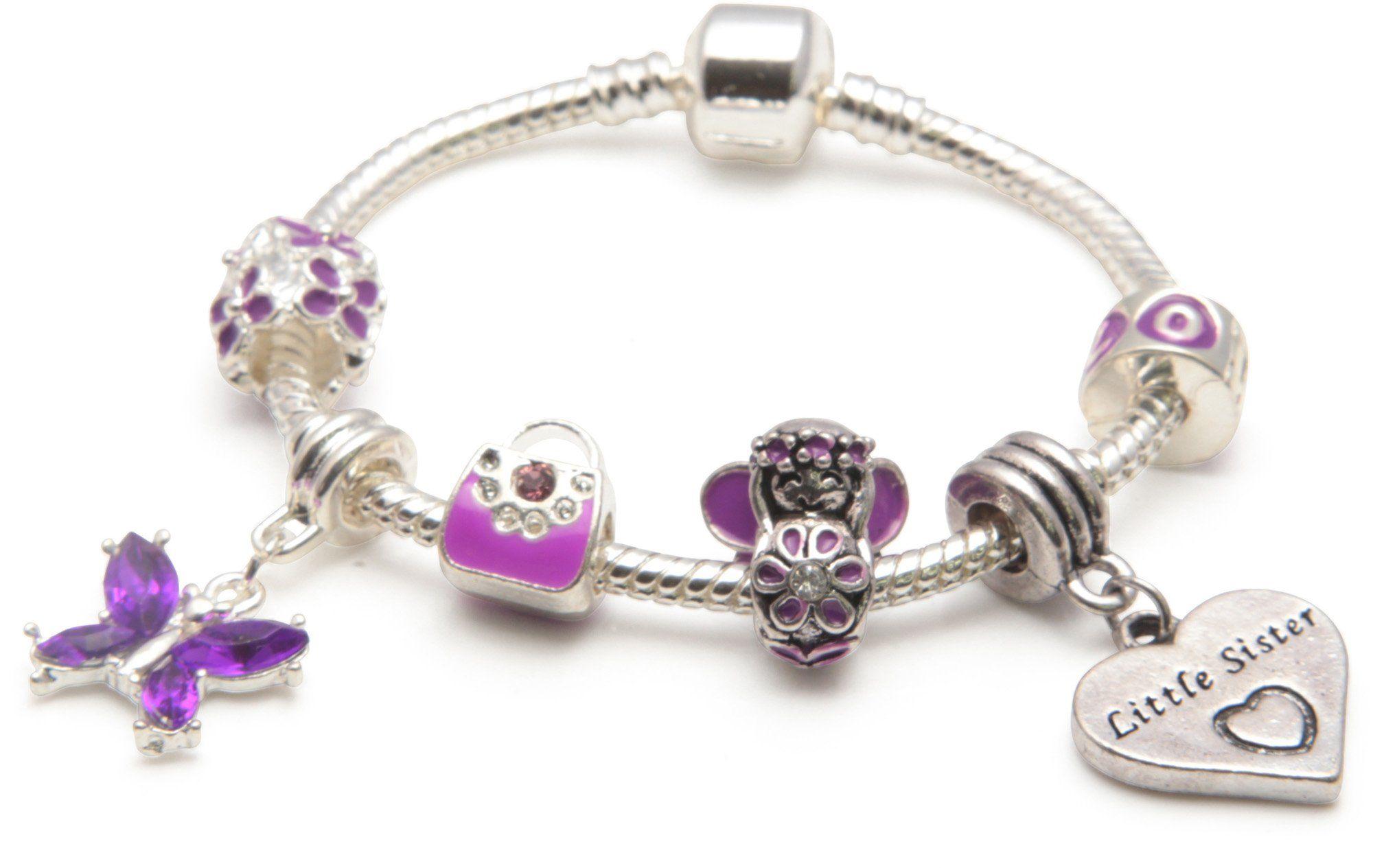 Bracelet charms Style Pandora plaqué argent violet - Bibi-beaute ...