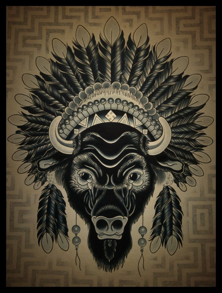 Buffalo headdress tattoo perfect but i want more color for Traditional bison tattoo